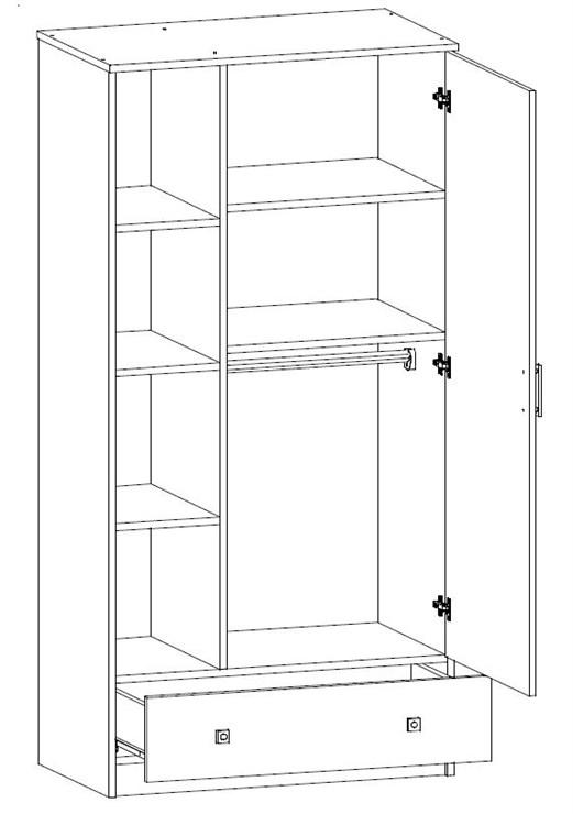 Brendon Niagara rod+shelves  1 osztású szekrény - Brendon - 9230