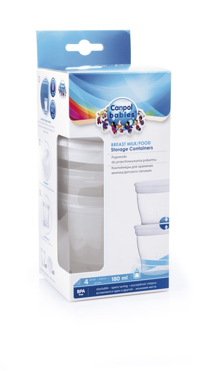 Canpol babies Breast milk / food storage containers 4 pcs180 ml  tejtároló edény - Brendon - 9741