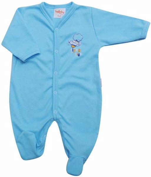 Bollaby Jesolo 394 Turquoise bavlnené dupačky s dlhým rukávom - Brendon - 13247