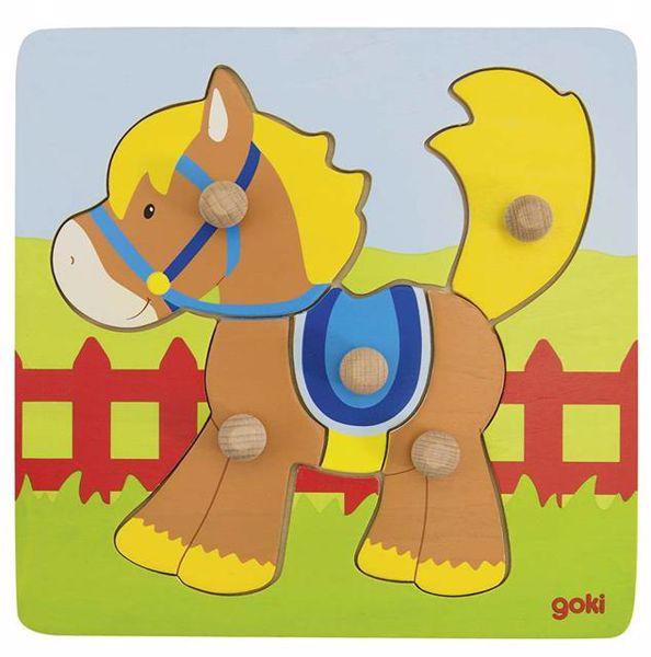 Goki Lift-out puzzle horse forma- és színegyeztető - Brendon - 18226