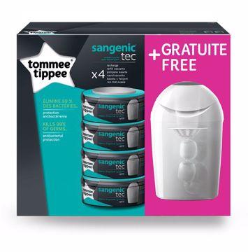 Tommee Tippee Sangenic TEC refill 4 pcs + Gratis Nappy disposal  pelenkatartó vödör utántöltő - Brendon - 33250