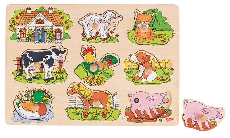 Goki Lift-out Soundpuzzle Farm zjednocovanie tvarov a farieb - Brendon - 37219