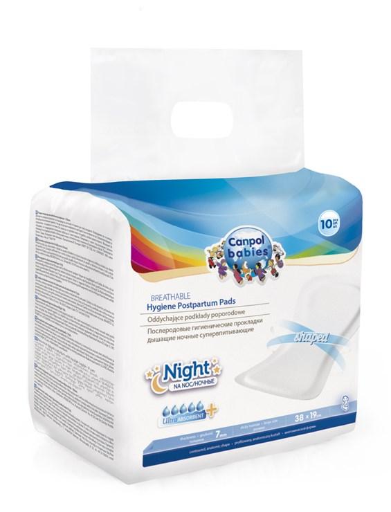 Canpol babies Breathable Hygiene Postpartum Pads Night 10 pcs  gyermekágyas betét - Brendon - 61540