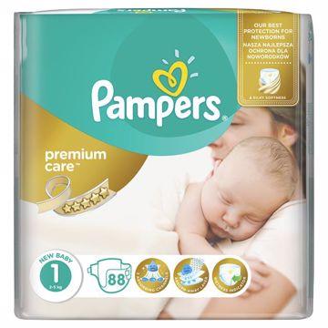 Pampers Premium Care 1 Newborn 88 pcs  eldobható pelenka - Brendon - 65000