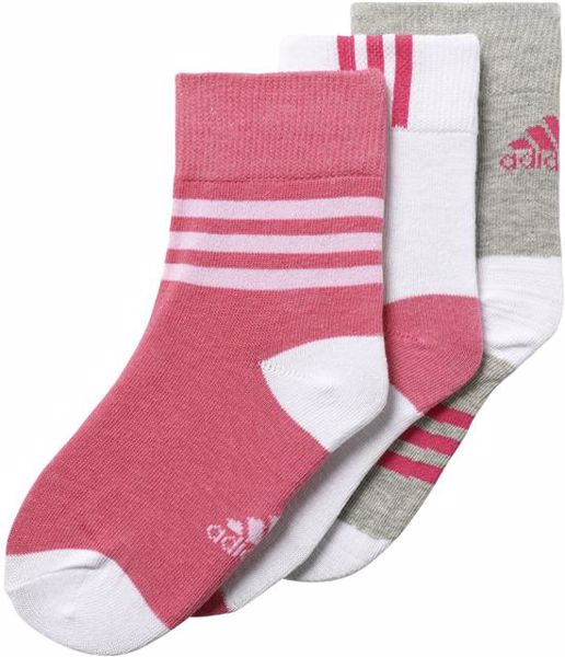 adidas CD2980/3pcs Grey-White-Pink ponožky - Brendon - 72179