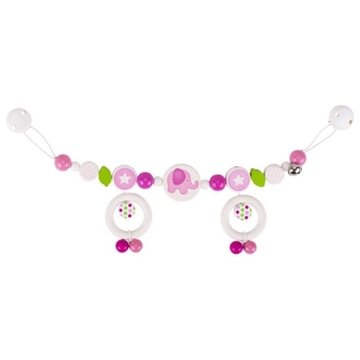 Heimess Pram chain elephant with clips pink retiazka na kočík - Brendon - 83474