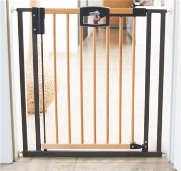 Geuther Easylock Wood Plus 80,5-88,5 cm Auto Close Natur Silver biztonsági rács - Brendon - 94992
