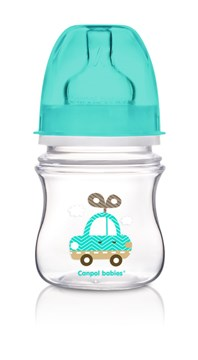 Canpol babies Easy Start wide neck anticolic bottle 120 ml Blue műanyag cumisüveg - Brendon - 103511