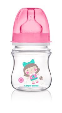 Canpol babies Easy Start wide neck anticolic bottle 120 ml Pink műanyag cumisüveg - Brendon - 103513
