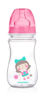 Canpol babies Easy Start wide neck anticolic bottle 240 ml Pink műanyag cumisüveg - Brendon - 103516