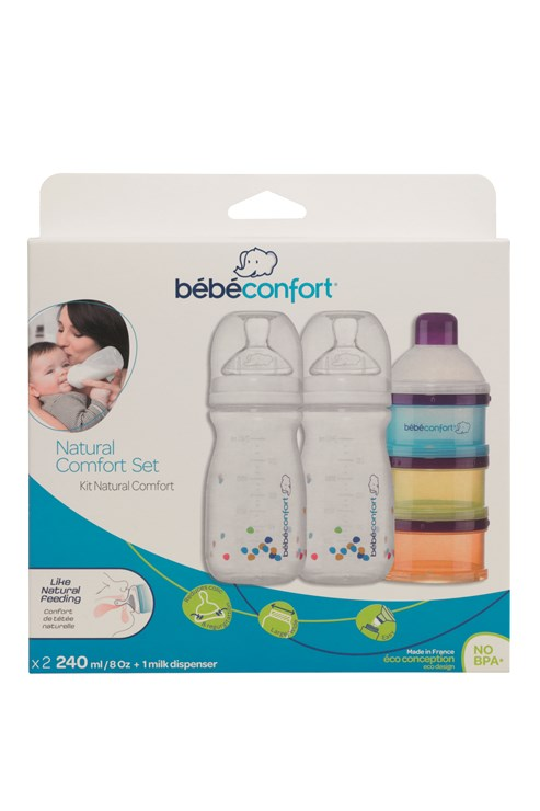 Bébé Confort Natural Comfort Baby Bottle Set Of 2 240 Ml + Milk  műanyag cumisüveg - Brendon - 115603