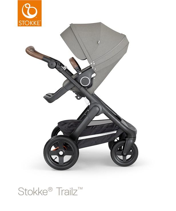 Stokke Trailz & seat Leatherette Terrain Wheels Brushed Grey-Black-Brown babakocsi - Brendon - 121552