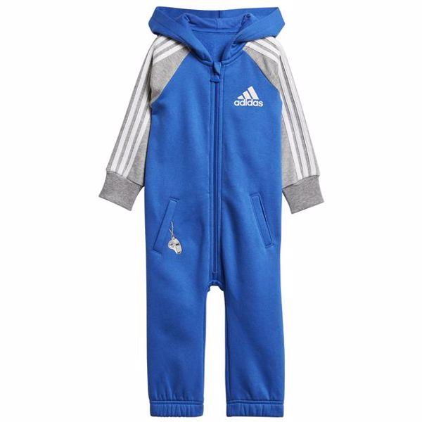 adidas DJ1561 Blue-Grey bavlnené dupačky s dlhým rukávom - Brendon - 128286