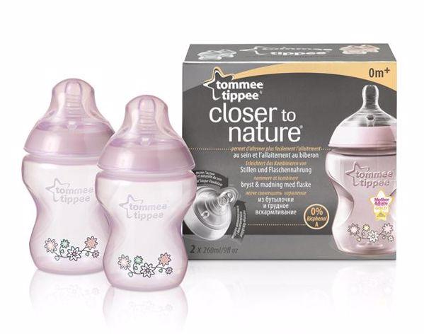 Tommee Tippee CTN Decorated 2*260 ml Pink cumlíková fľaša plastová - Brendon - 132076
