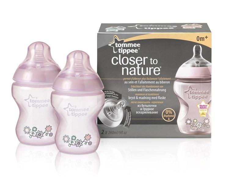Tommee Tippee CTN Decorated 2*260 ml Pink plastová cumlíková fľaša - Brendon - 132076