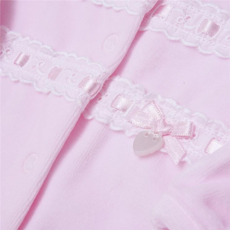 Bluesbaby PP0346 Pink hosszú ujjú plüss rugdalózó - Brendon - 133420