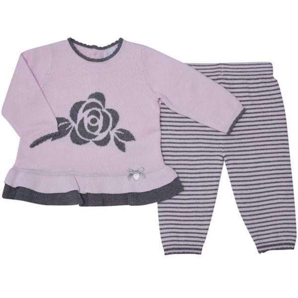 Bluesbaby PP0173/2pcs Pink Grey nadrágos csecsemőgarnitúra - Brendon - 137200