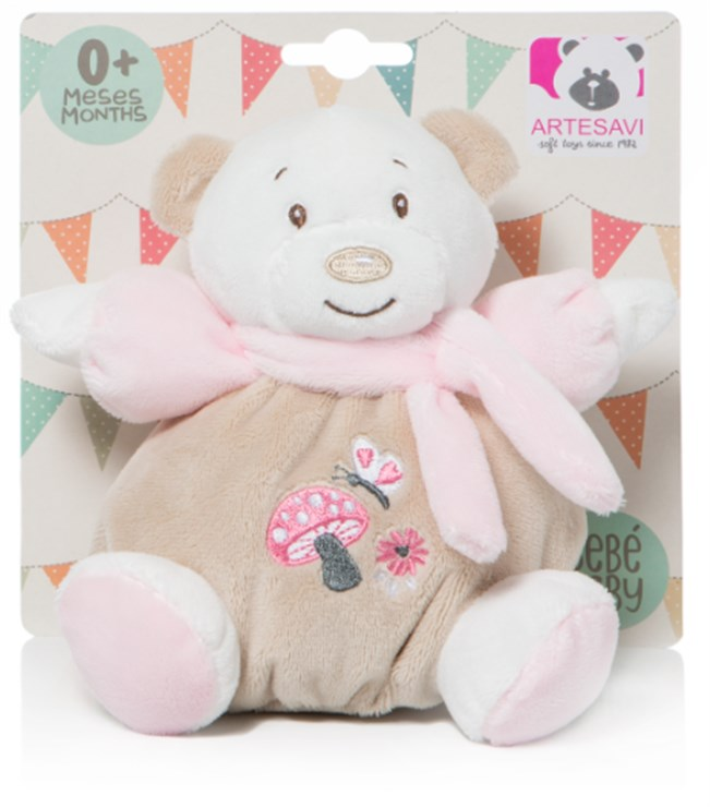 Artesavi Bear with scarf 15cm Pink plyš - Brendon - 141002