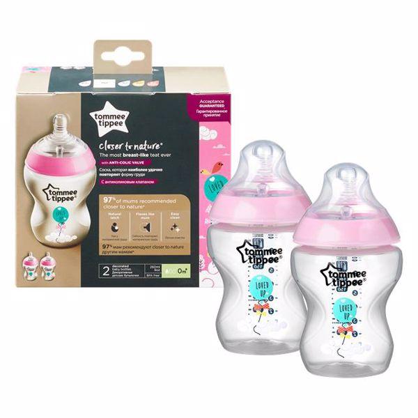 Tommee Tippee CTN Decorated 2*260 ml Pink cumlíková fľaša plastová - Brendon - 143927