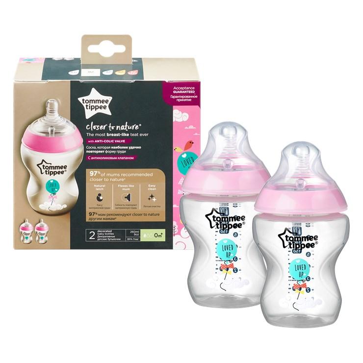 Tommee Tippee CTN Decorated 2*260 ml Pink plastová cumlíková fľaša - Brendon - 143927