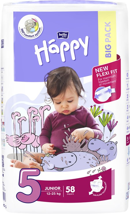 Bella Baby Happy Big Pack Junior 58 pcs  eldobható pelenka - Brendon - 145595