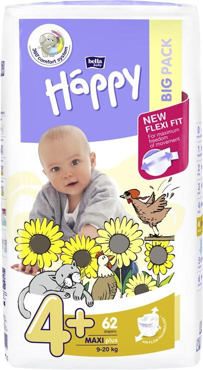 Bella Baby Happy Big Pack Maxi Plus 62 pcs  jednorázové plienky - Brendon - 146622