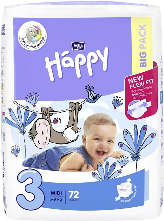 Bella Baby Happy Big Pack Midi 72 pcs New  jednorázové plienky - Brendon - 146630