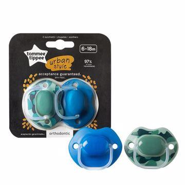 Tommee Tippee Urban Style 6-18m 2 pcs green-blue cumeľ silikónový na hranie a spanie - Brendon - 150137