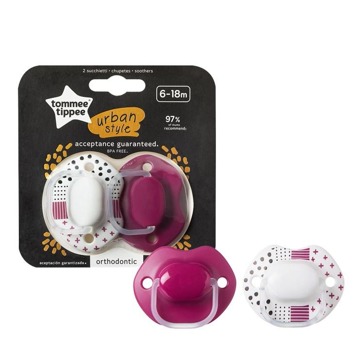 Tommee Tippee Urban Style 6-18m 2 pcs Pink-White silikónový cumeľ na hranie a spanie - Brendon - 150164
