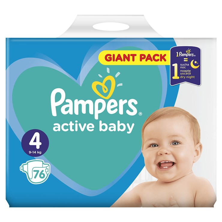 Pampers Active Baby Dry Giant Pack 4 Maxi 76 Pcs Eldobhat 243