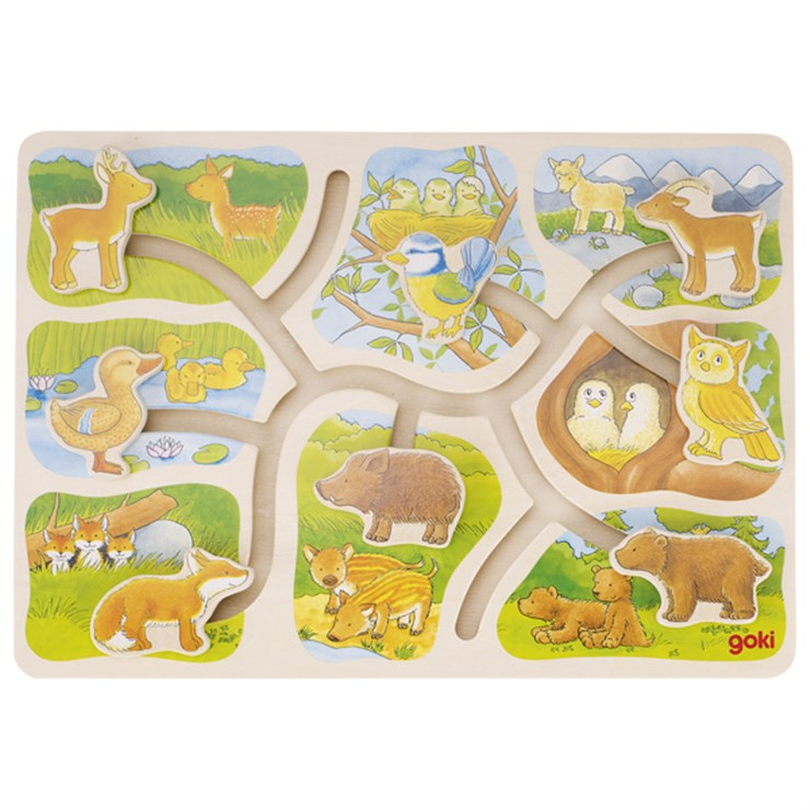 Goki Sliding puzzle Who belongs to who? forma- és színegyeztető - Brendon - 162981