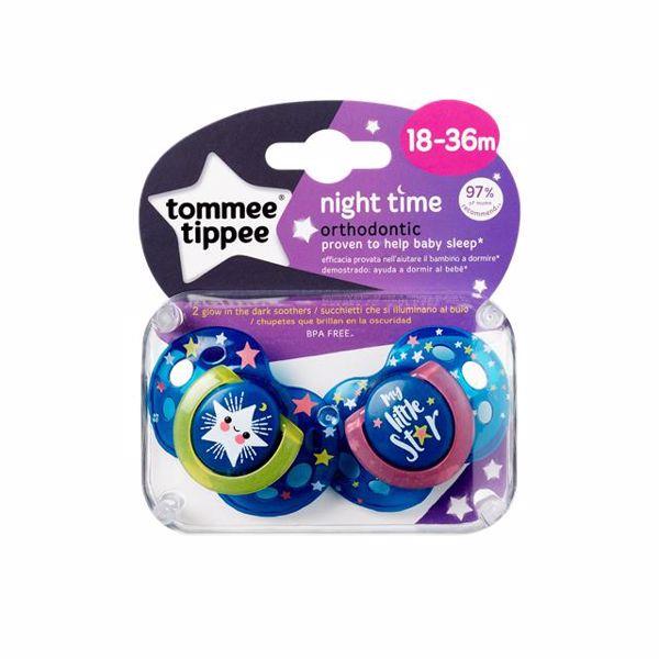 Tommee Tippee Night 18-36 m 2 pcs  silikónový cumeľ na hranie a spanie - Brendon - 22833802