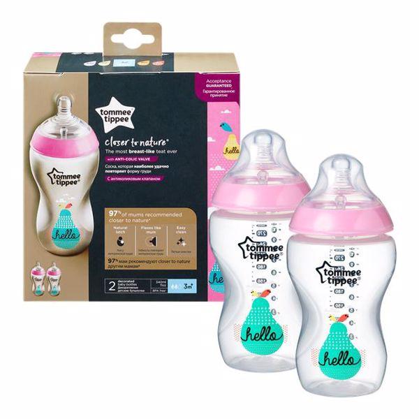 Tommee Tippee CTN Decorated bottle 2*340 ml Pink plastová cumlíková fľaša - Brendon - 23064302