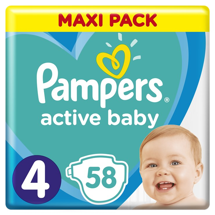 Pampers Active Baby Dry Maxi Pack 4 Maxi 58 Pcs Eldobhat 243